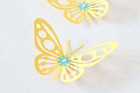 yellow nursery decor 3d wall butterflies by MyDreamDecors ...