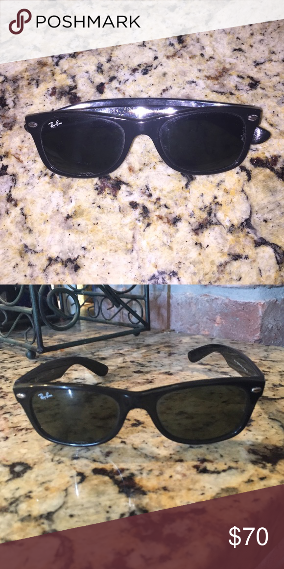 New wayfarer black Raybans. Solid black. Smaller wayfarers. Few scratches and they don't lie completely flat but overall good condition. I loved these for a couple years! Rayban Accessories Sunglasses