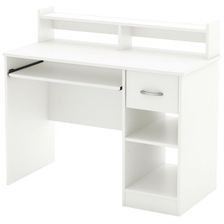Modern Computer Desk With Keyboard Tray In White Finish Modern Computer Desk Home Office Computer Desk White Desks