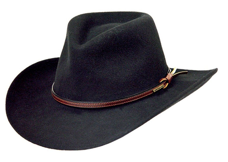 a5d16564456b75 Stetson Men's Bozeman Wool Felt Crushable Cowboy Hat - Twboze-813007 Black  at Amazon Men's Clothing store: