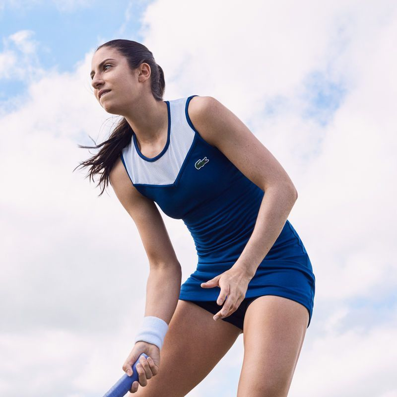 Women S Lacoste Sport Tech Jersey And Mesh Racerback Tennis Dress 100 00 Lacoste Sport Tennis Dress Tennis Fashion