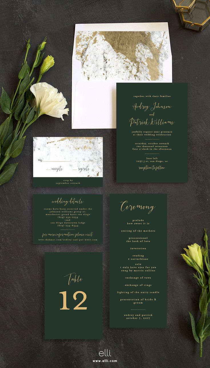 Marble and gold wedding invitation suite with