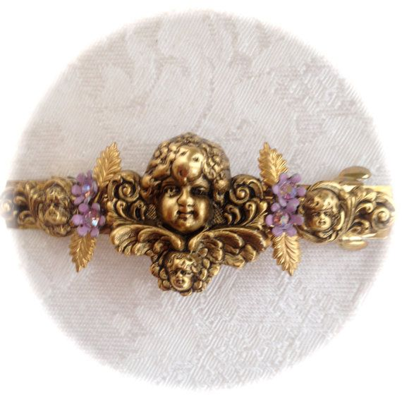NEW HAIR JEWELRY-Golden Cherubs Amethyst AB Crystals Flowers by FleurdeleeJewelry