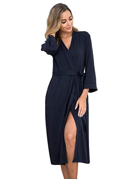 85c88813e Abollria Women Kimono Robes Cotton Long Bathrobe Lightweight Sleepwear Soft  Lounge Robe with Pocket (Navy