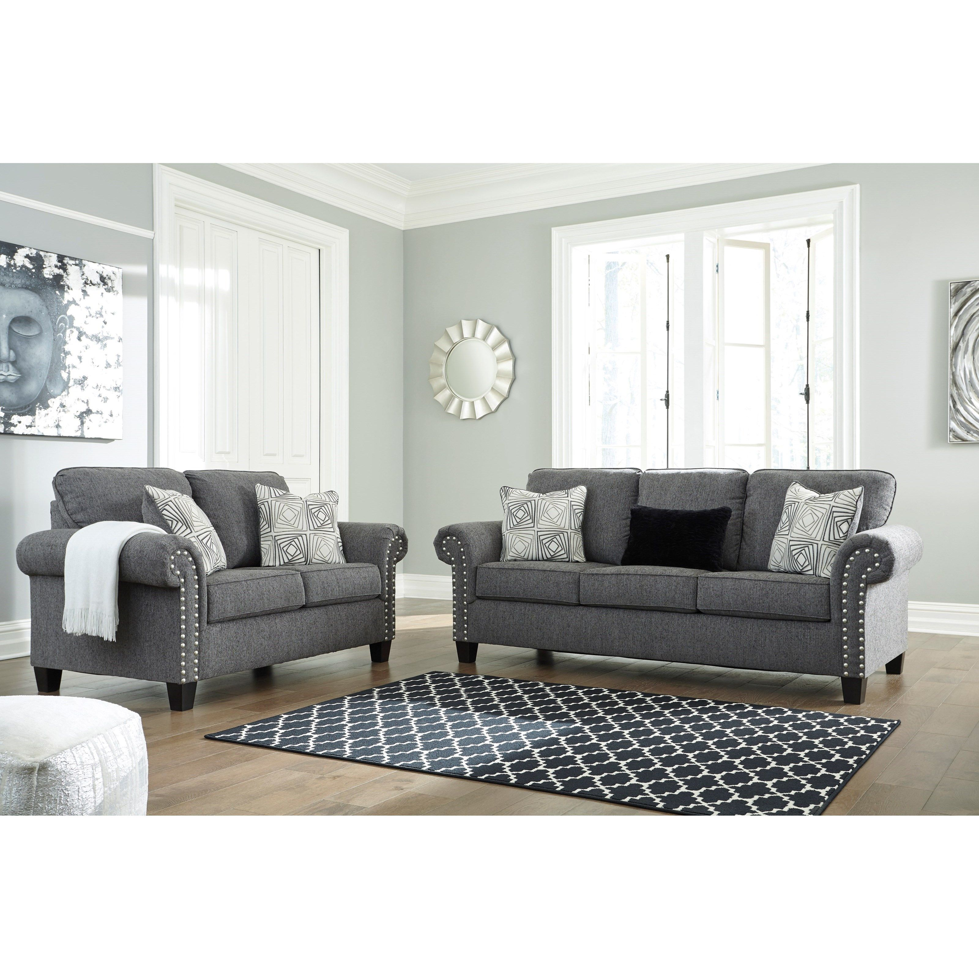Best Agleno Contemporary Sofa With Nailhead Trim By Benchcraft Charcoal Sofa Loveseat Sofa 640 x 480