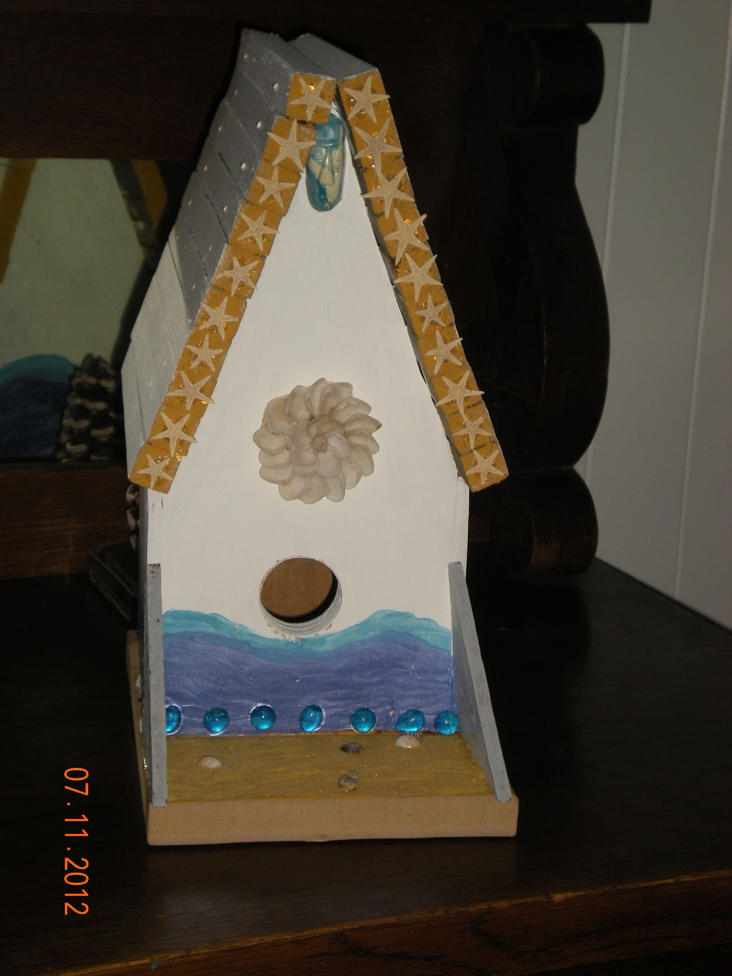 shells make a great boarder for bird houses.