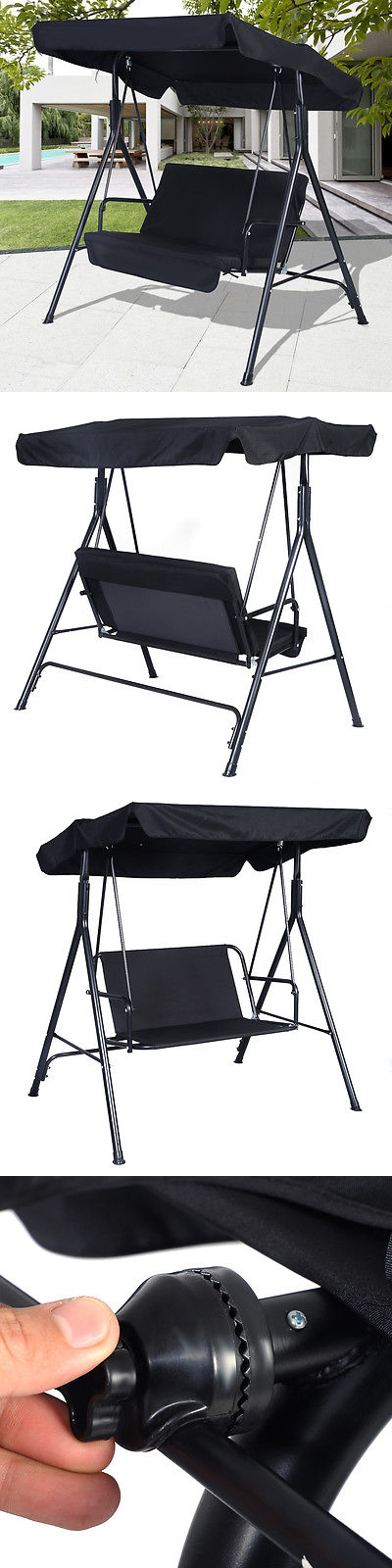 Swings 79700: Black Outdoor Patio Swing Canopy Awning Yard Furniture  Hammock Steel 2 Person