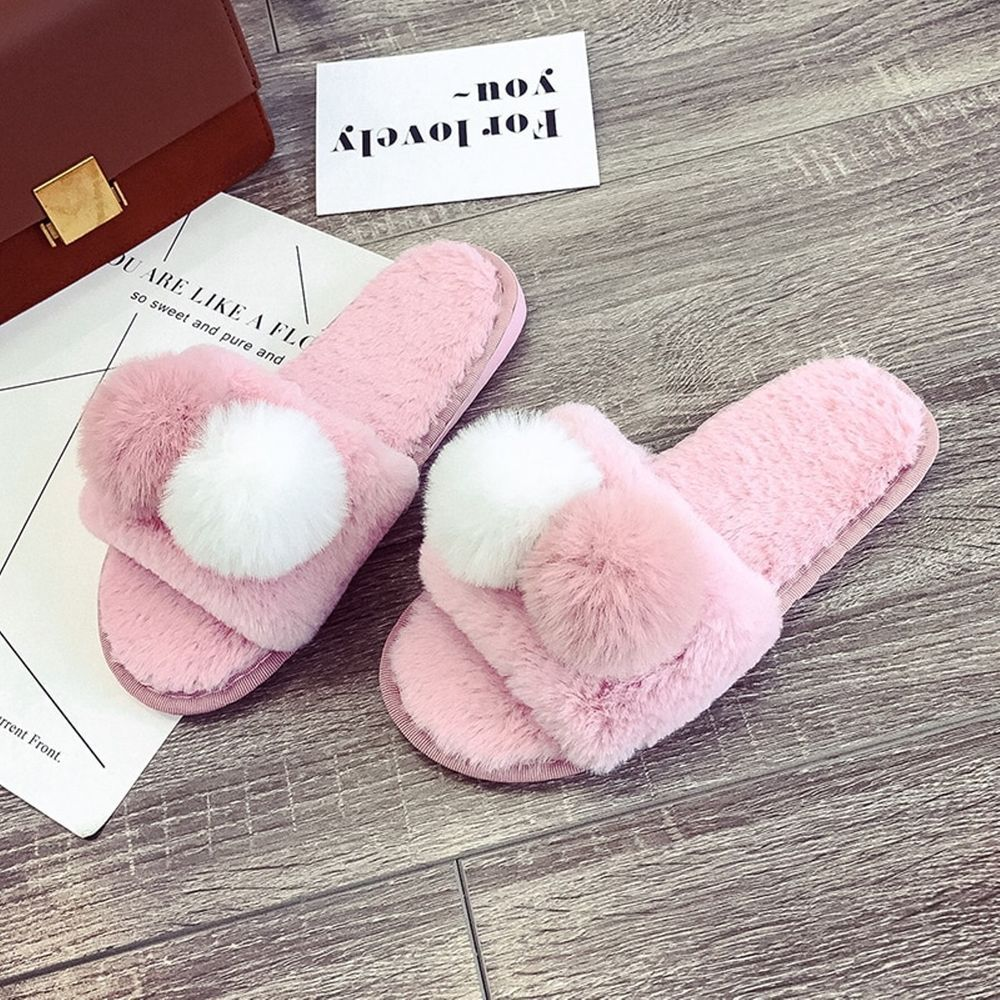 Ladies Women Flat Fur Fluffy Slippers Comfy Warm Cosy Home Flat Slippers Shoes