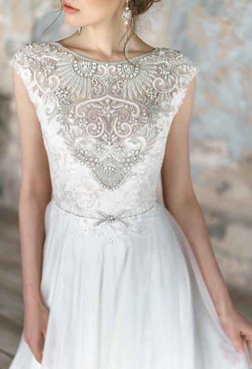 Animaisa Embroidered Wedding Dress Delicate Lace Tulle Brautkleid