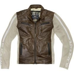 Photo of Black-Cafe London Toronto Motorrad Lederjacke Weiss Braun 52