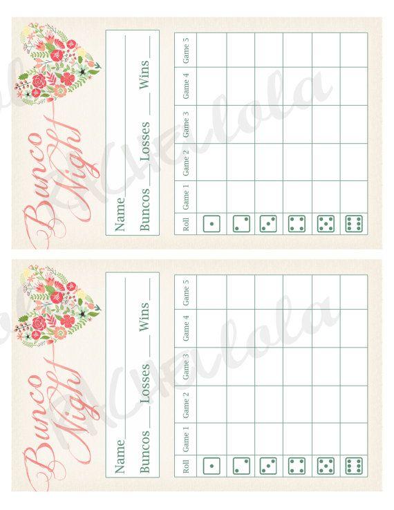 heart flower bunco score card score sheet wedding bunko party