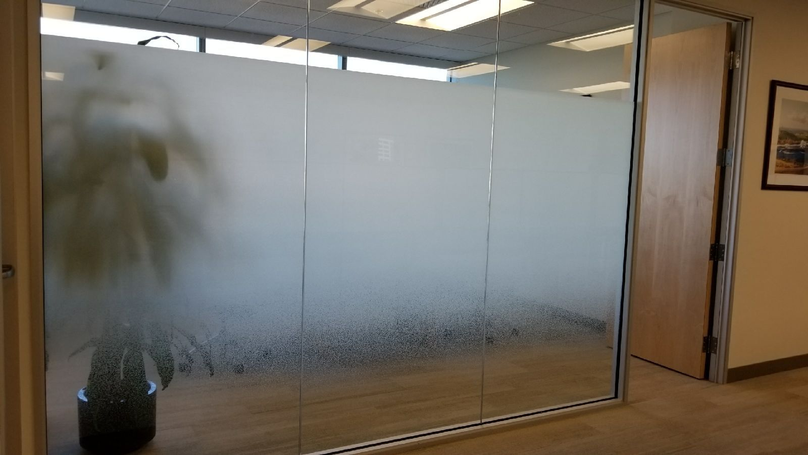 Solyx Gradient Window Film Application From Reflections Glass Tinting Inc Of Livermore Ca Adds Privacy Commercial Window Tinting Window Film Tinted Windows
