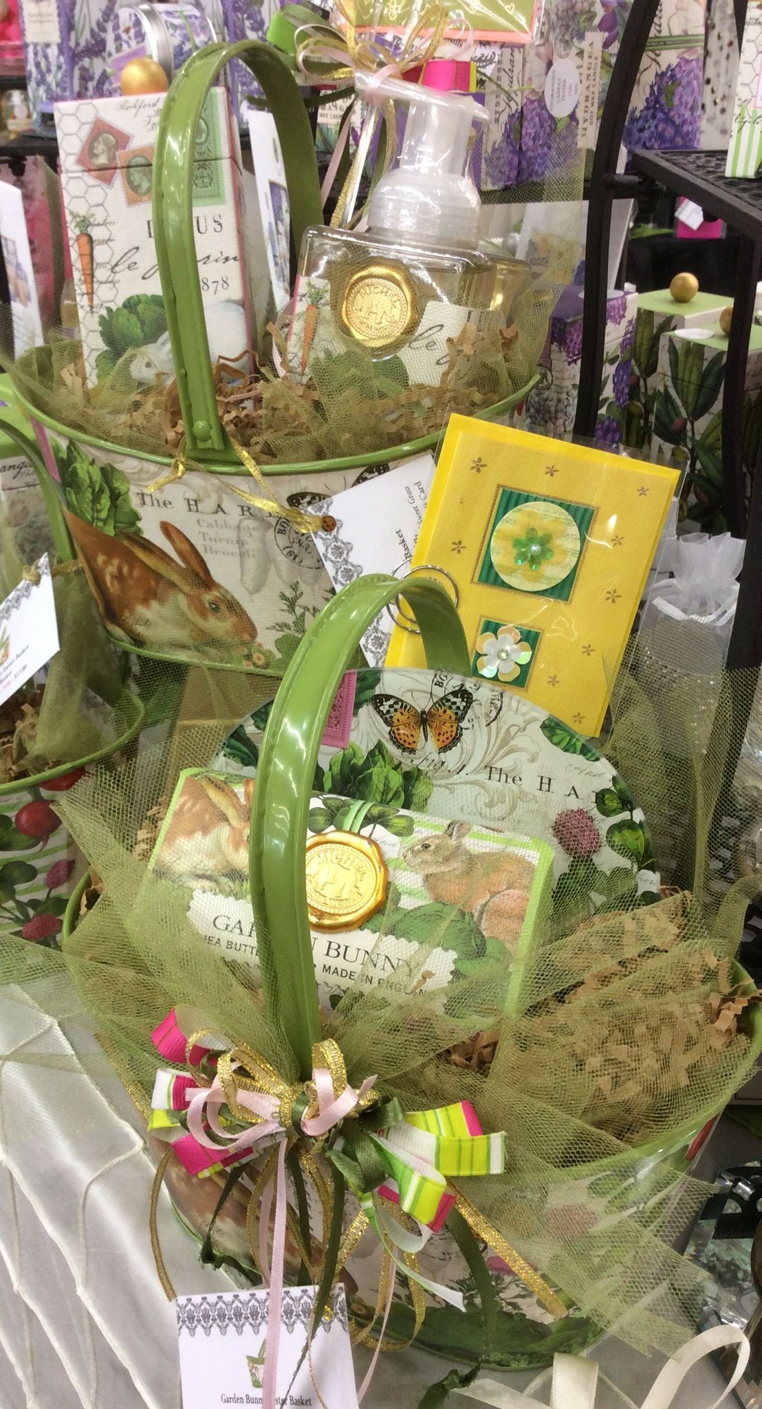 Tin Easter Baskets filled with Garden Bunny by Michele