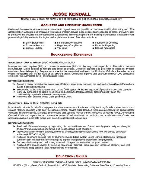 Bookkeeper Resume Example Http Resumesdesign Com Bookkeeper Resume Example Resume Examples Resume Tips Accountant Resume