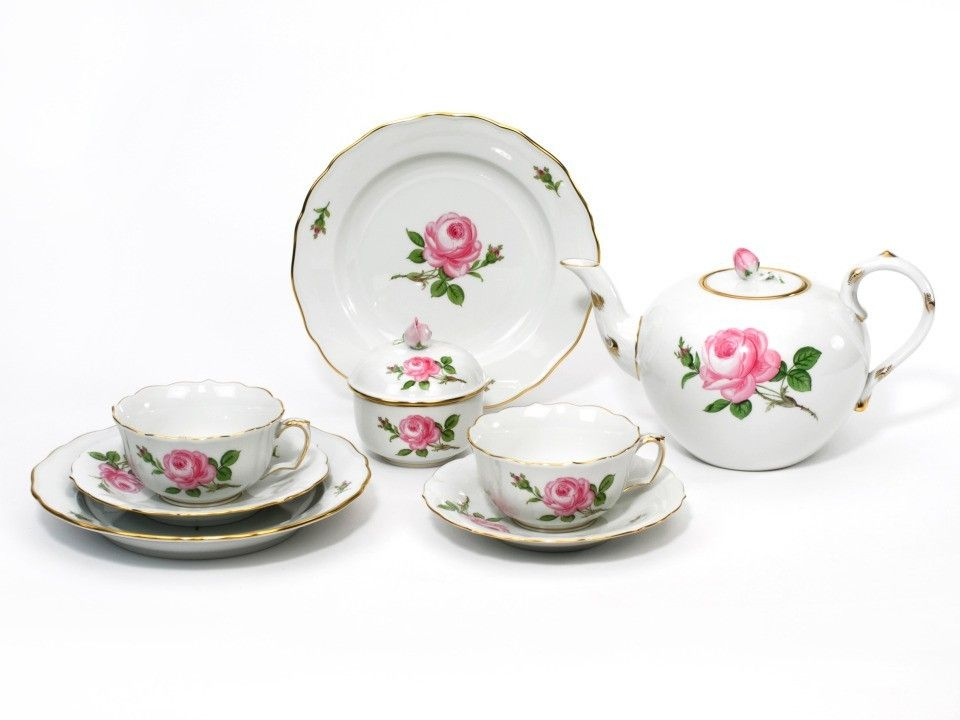 """Set da tè, Forma """"Nuovo Ritaglio"""", Rosa centrale, policroma, bordo oro"""