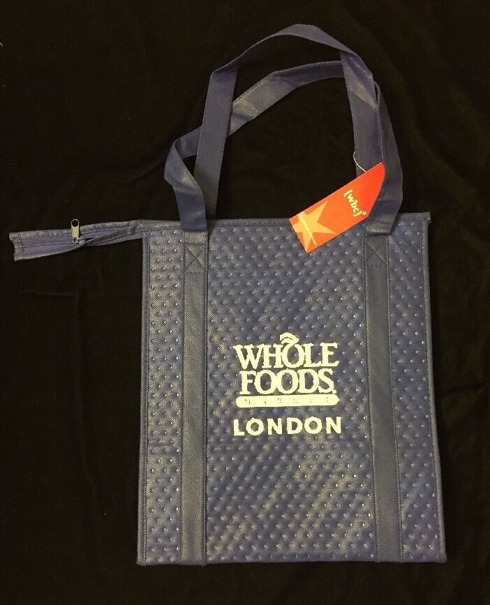 Whole Foods London Insulated Hot Cold Bag Blue White England Uk Cool Zipper New Wholefoods