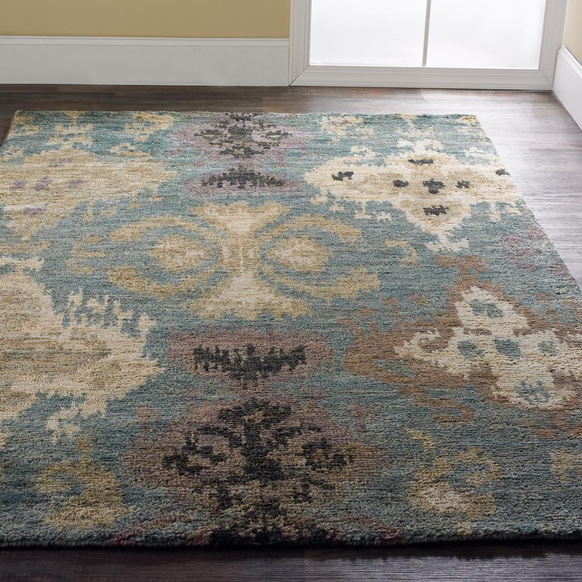 Aqua Ikat Brushed Jute Rug This Over Scaled Ikat Pattern