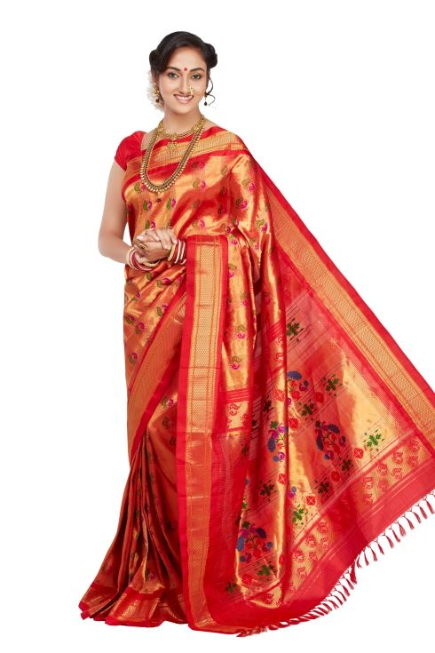 Red Paithani (With images)   Designer dresses indian, Saree ...
