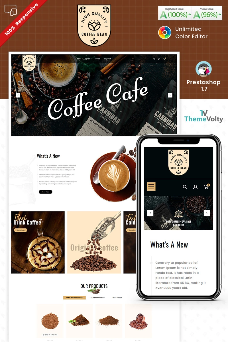 Coffee Bean Prestashop Theme 93285 In 2020 Prestashop Themes Coffee Beans Simple Menu