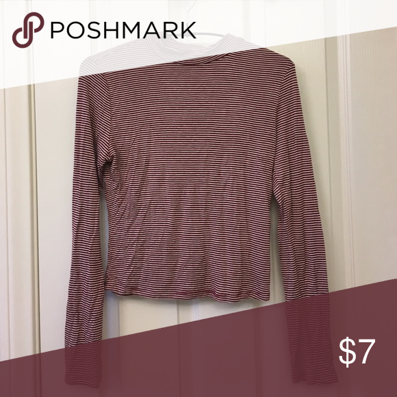 A top Long sleeve, fitted, striped maroon with white crop top Tops Crop Tops