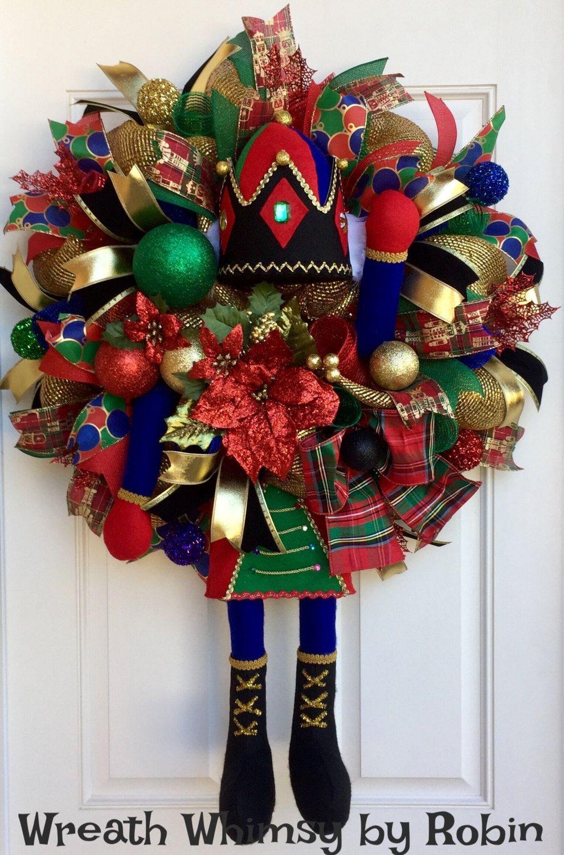 Deco Mesh Nutcracker Wreath Nutcracker Wreath Christmas Wreath for your door Festive Wreath Christmas Wreath Nutcracker Mesh Wreath