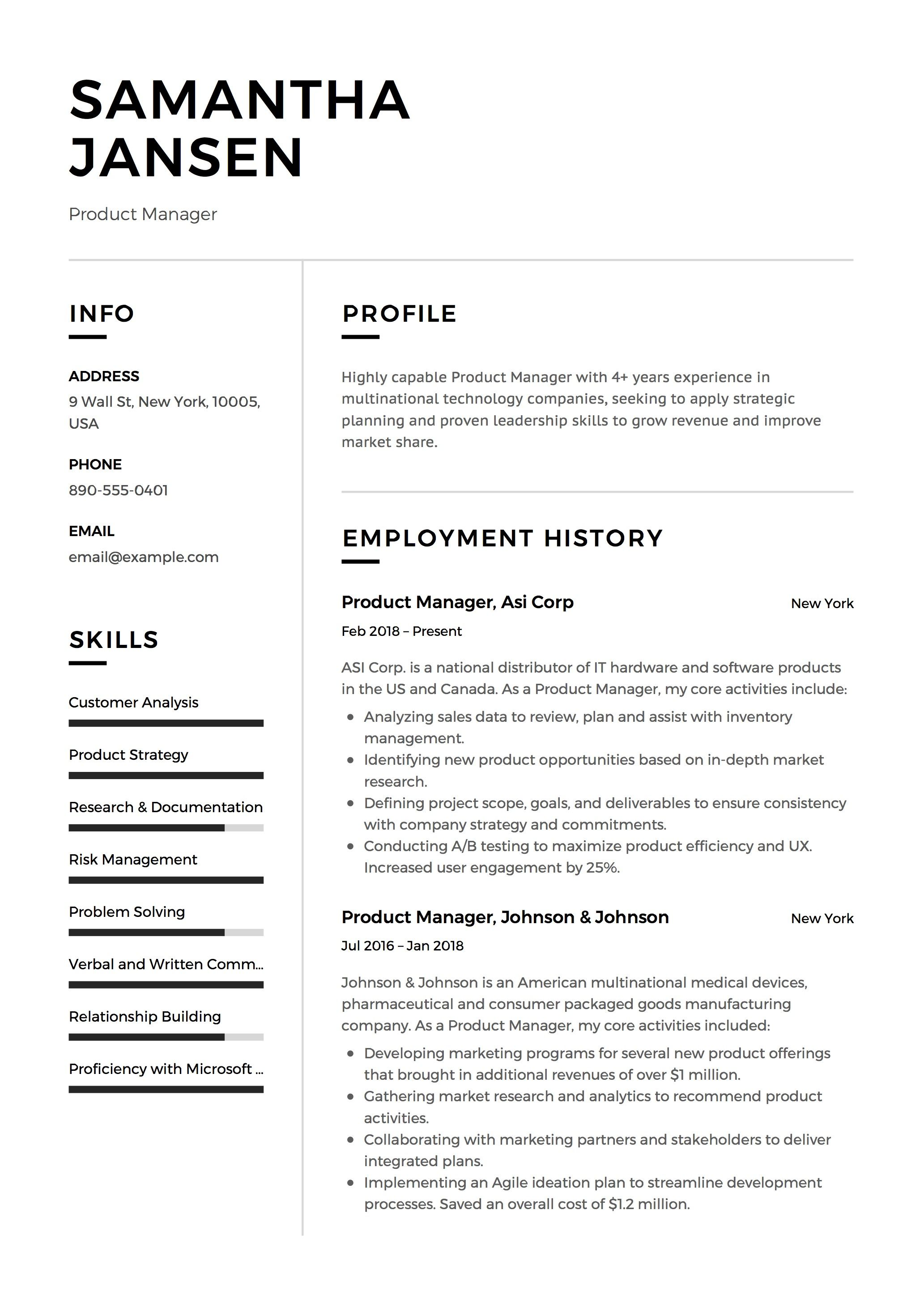 Product Manager Resume Sample Template Example Cv Formal