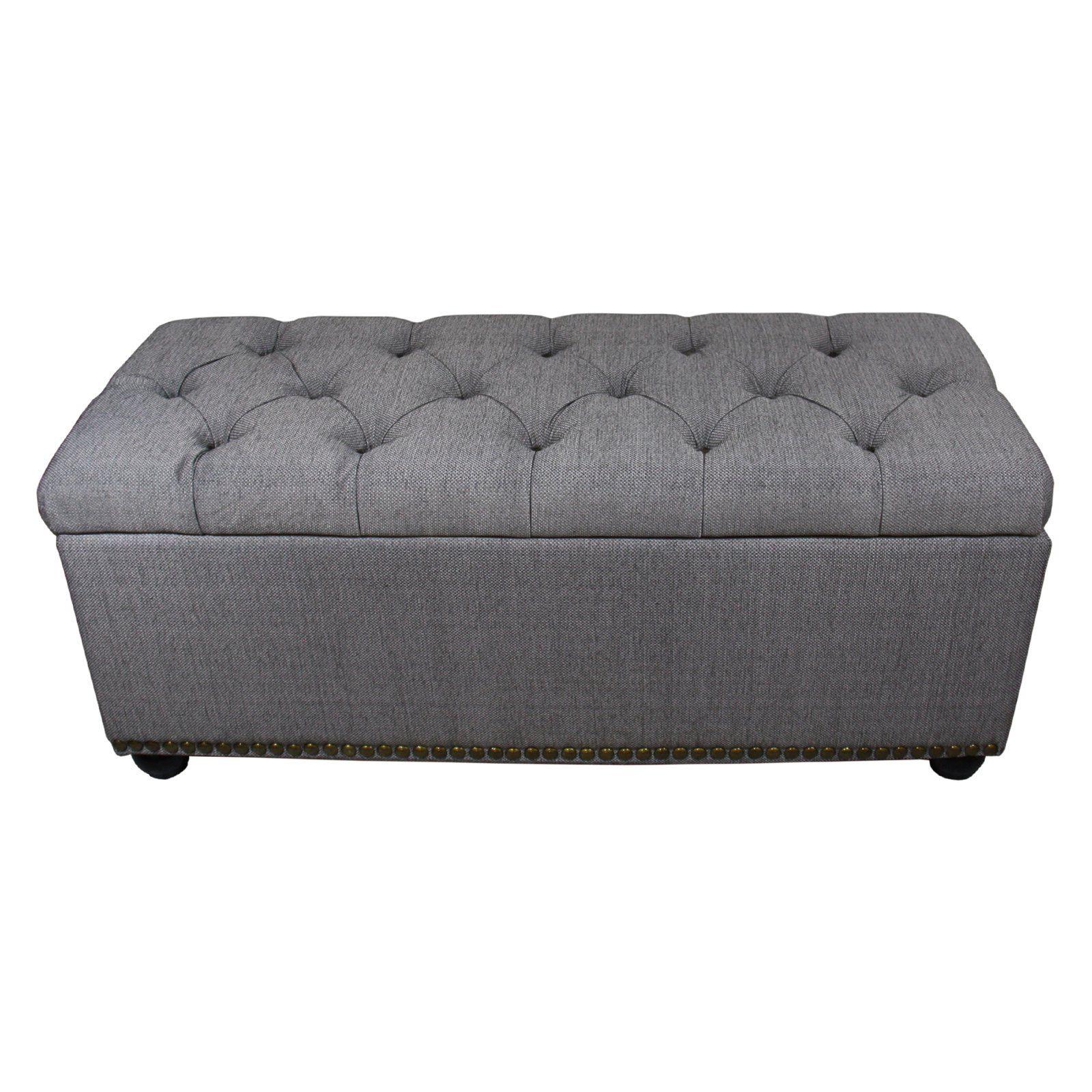 Ore International Tufted Grey Storage Bench With 3 Piece Ottoman