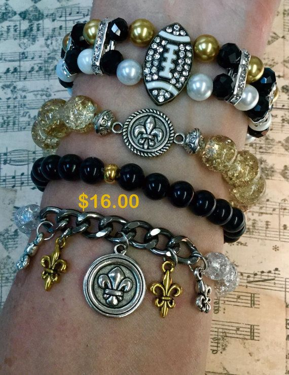 New Orleans Saints Bracelets By Sycharmbykathi On Etsy Who Dat Louisiana
