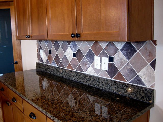 Painted Backsplash With Faux Tiles Lots Of Examples Of Faux