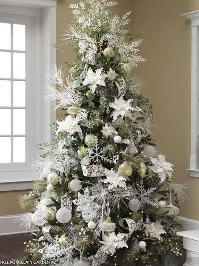 awesome White And Silver Christmas Tree Design unhas Pinterest