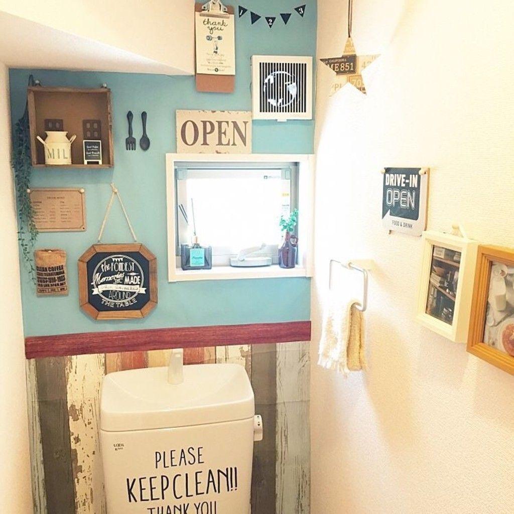 タッカーが大活躍 シンプルなトイレをのり無しタイプの壁紙でカフェ風