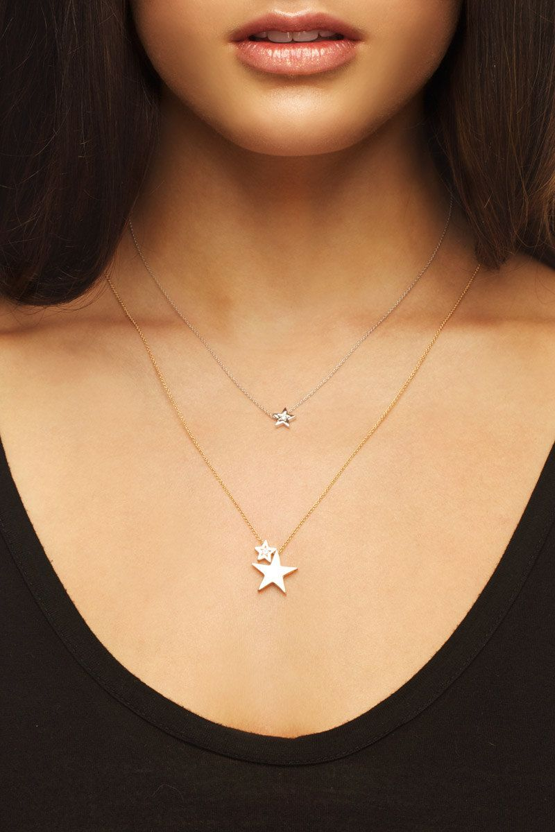 Diamond Star Necklace Small White Gold Natural