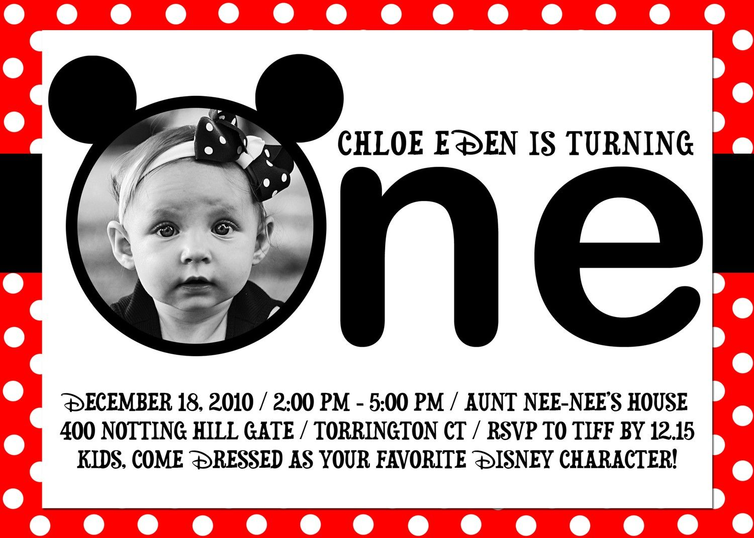 Red And White Mickey Mouse 1st Birthday Invitations
