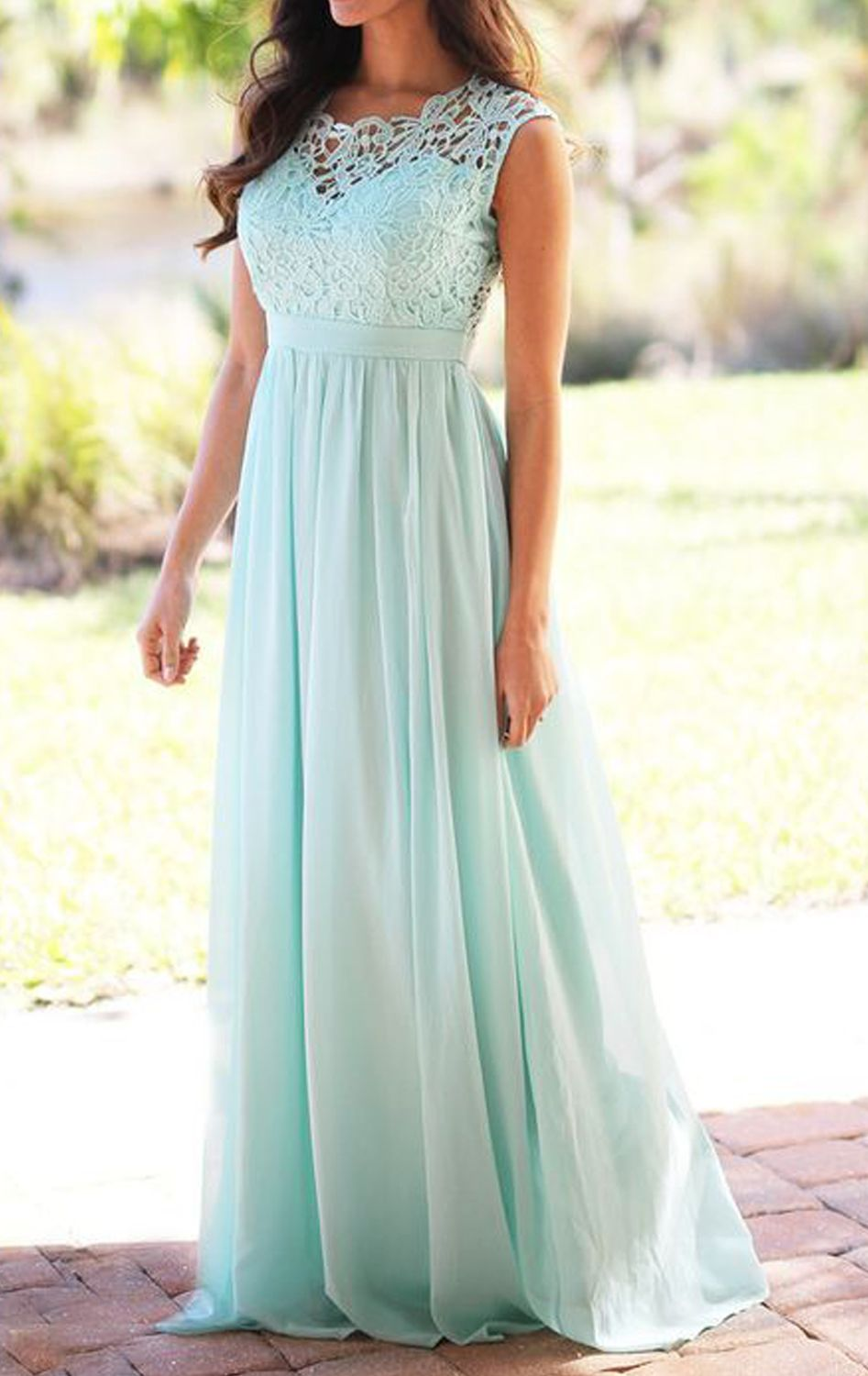 Lace chiffon long bridesmaid dress elegant simple pink prom gown