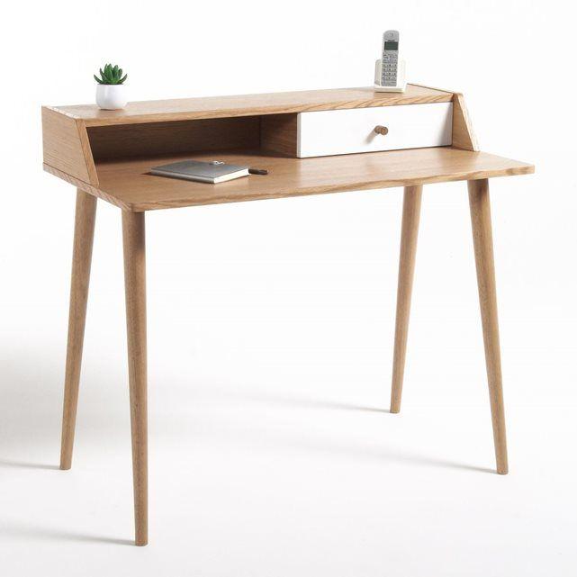 Bureau d 39 appoint 1 tiroir clairoy ch ne la redoute interieurs la redoute desks bureau for Bureau d appoint