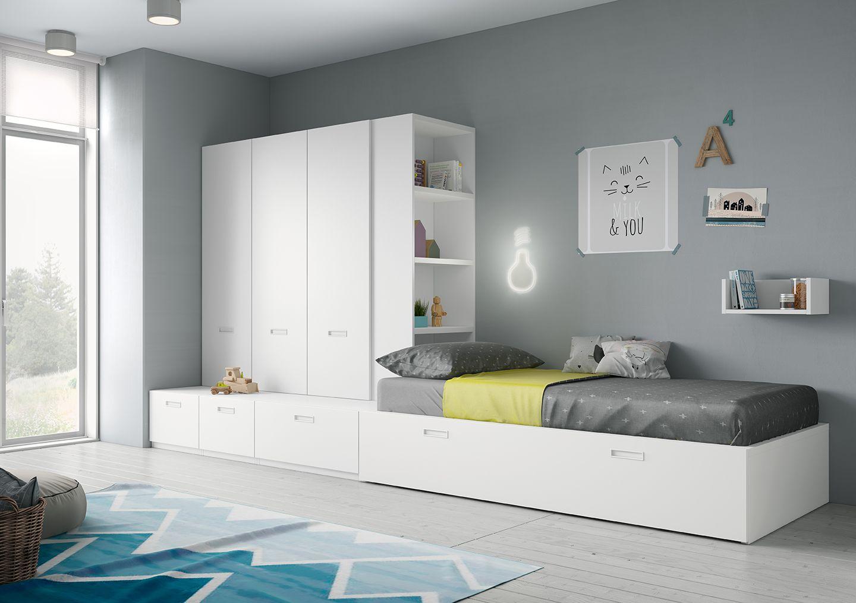 Dormitorio juvenil cama nido con armario blanco en derbe muebles madrid habitaciones - Dormitorios juveniles en madrid ...