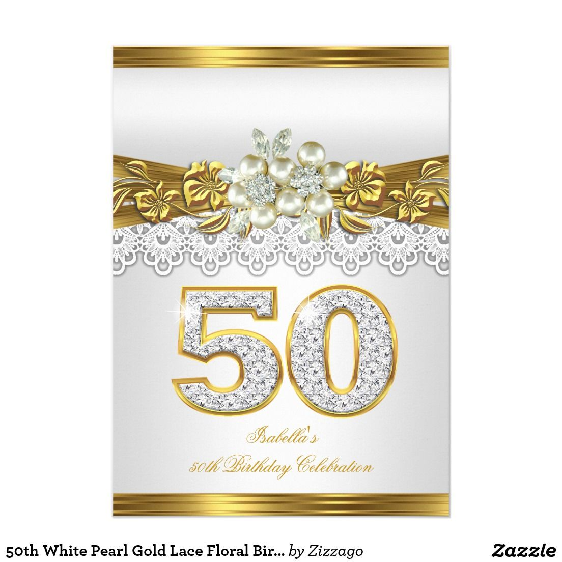 50th White Pearl Gold Lace Floral Birthday Party Card - 50th ...