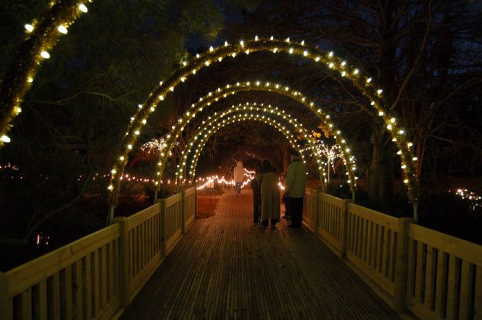 A bridge located at Hopelands Gardens covered in white Christmas ...