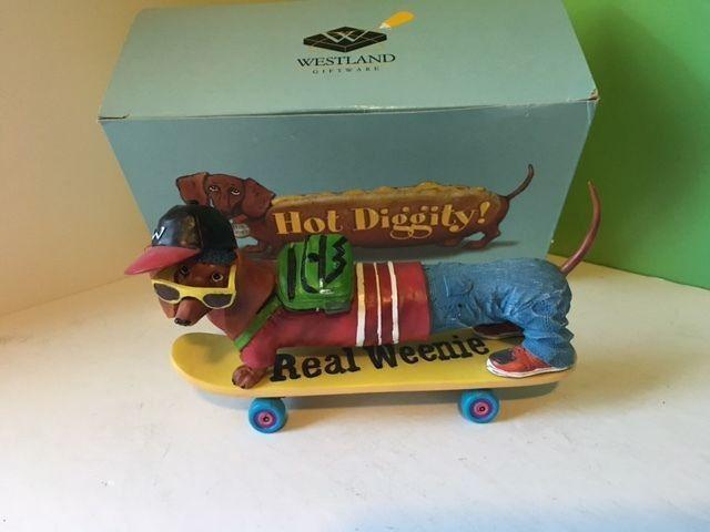 WESTLAND GIFTWARE HOT DIGGITY DACHSHUND DOG FIGURINE BOX REAL WEENIE SKATE BOARD