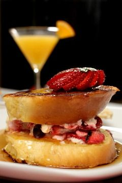 Brunch Idea:  Chocolate-covered, strawberry-stuffed French toast and Cointreau Mimosa 'Martini'