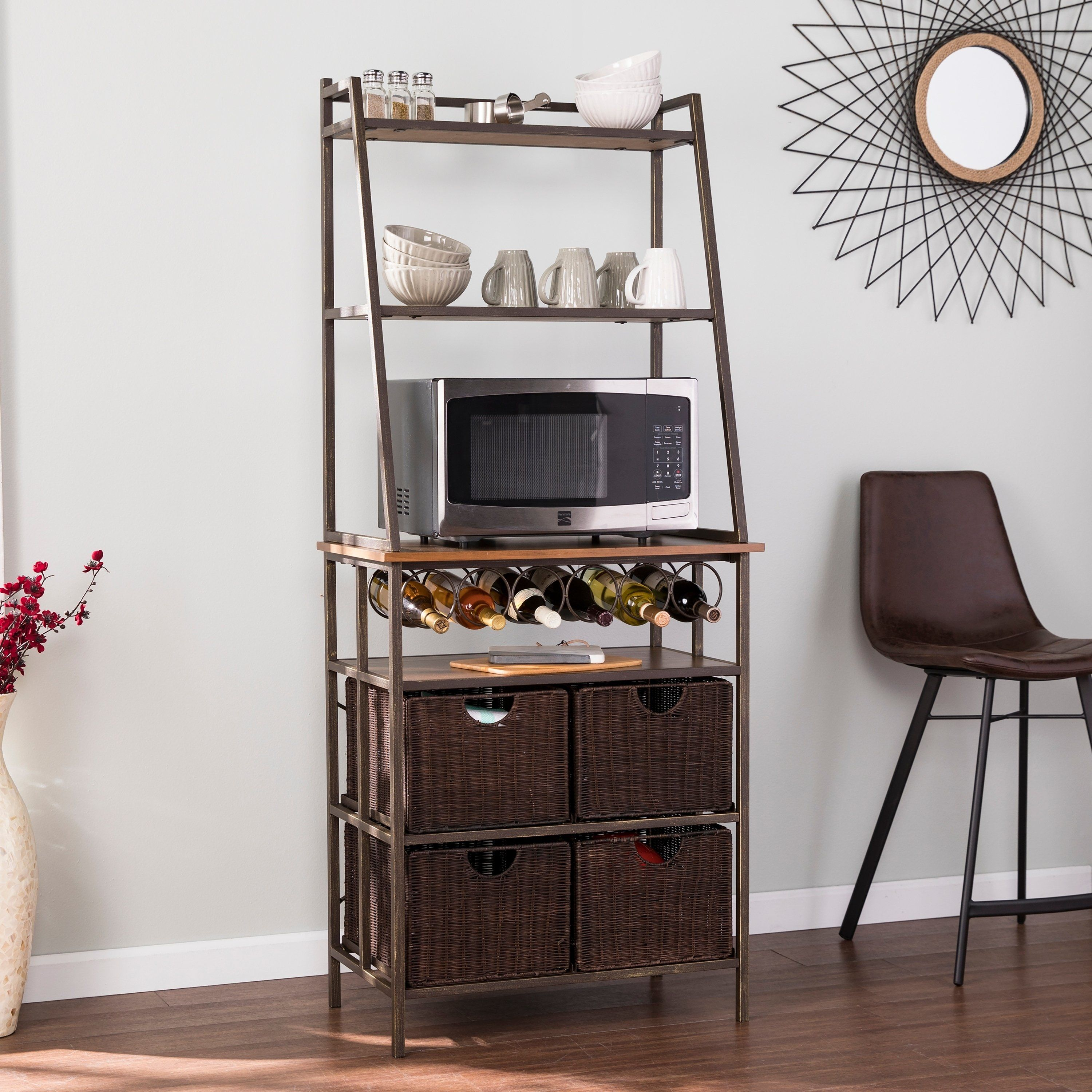 Harper Blvd Archie Metal Bakers Rack W Wine Storage And Baskets