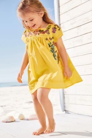 f3f0f11ce Girls Next Yellow Embroidered Dress (3mths-6yrs) - Yellow
