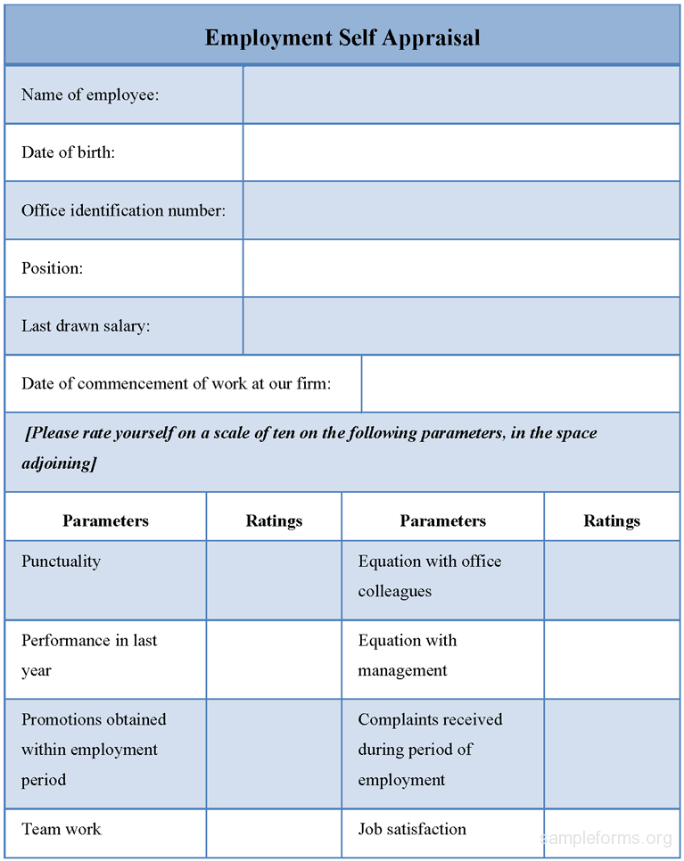 Employee Self Evaluation Template Vzwgpfa  Employee Self Evaluation Forms Free