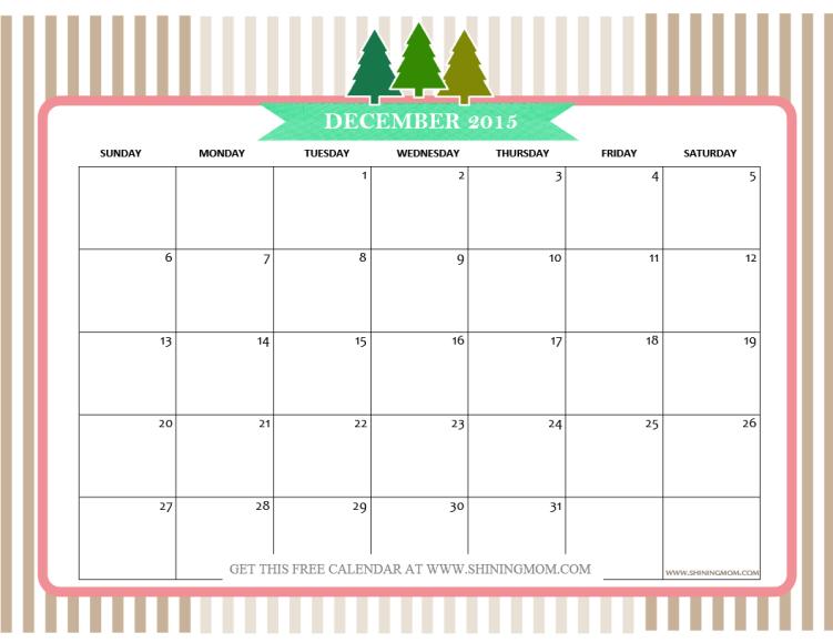 December 2015 Calendars Christmas Themed Designs December and