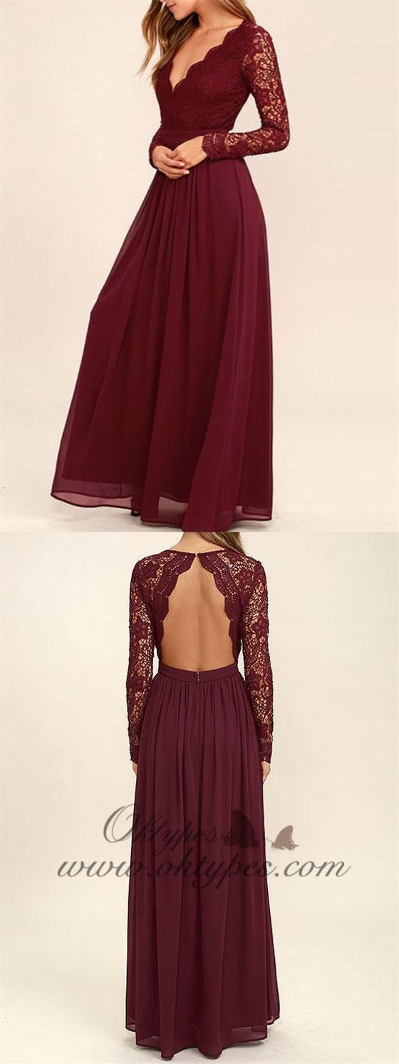 Aline burgundy chiffon long sleeves lace bridesmaid dresses