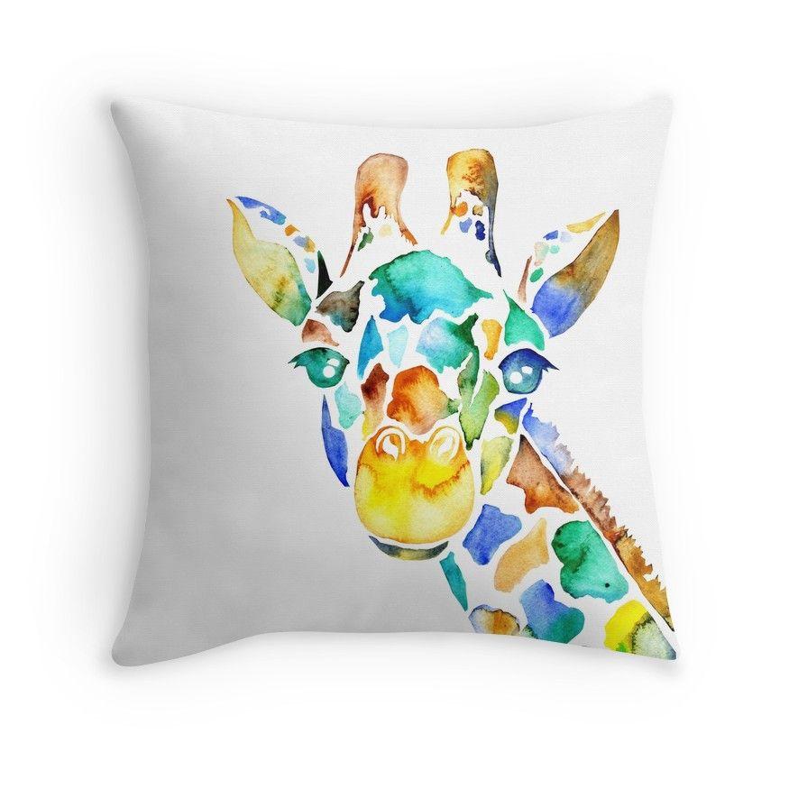 Watercolor Giraffe Giraffe Throw Pillow Throw Pillows Printed Throw Pillows