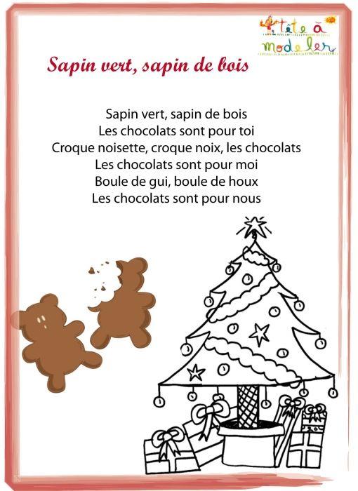 Poème De Noël Sapin Vert Sapin De Bois à Imprimer Poeme