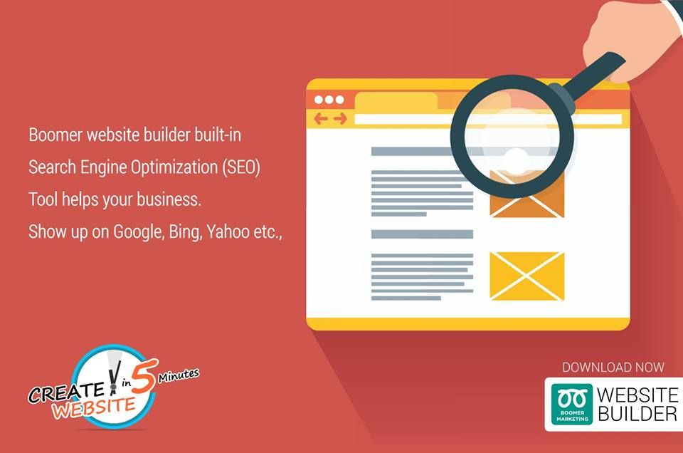 Boomer website builtin Search Engine Optimization (SEO