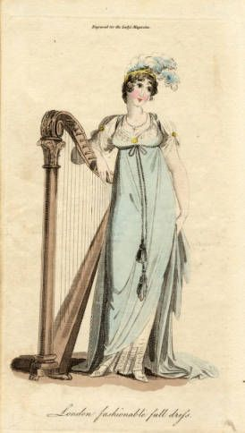 1805 London Fashionable Full Dress. Pale blue high-waisted dress ...