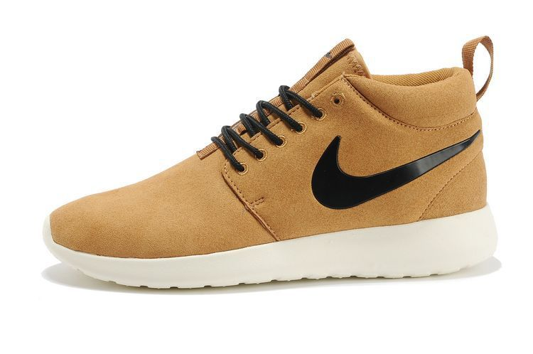 57b2f595470a2 Nike Roshe Run Mide Suede Mens Shoes Brown Black White. Running shoes store